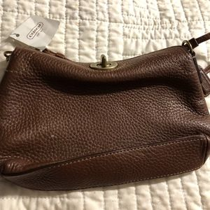 NWT BROWN PEBBLED LEATHER COACH WRISTLET PURSE